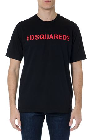 BLACK COTTON T-SHIRT WITH #DSQUARED2 LETTERING SS 2019 DSQUARED2 | 15 | S74GD0535S20694900