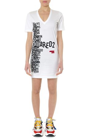 DRESS T SHIRT IN PRINTED WHITE COTTON SS 2019 DSQUARED2 | 32 | S75CU0936S22427100