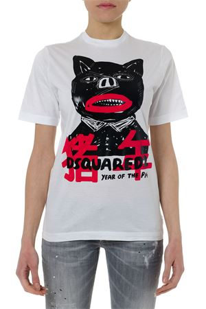 T SHIRT IN COTONE BIANCO CON STAMPA PE 2019 DSQUARED2 | 15 | S75GD0003S22427100