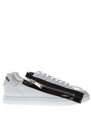 DSQ2 WHITE LEATHER ZIPPED SNEAKERS SS19 DSQUARED2 | 55 | SNW0044065000011062