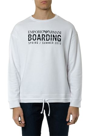 WHITE COTTON PRINTED SWEATSHIRT SS 2019 EMPORIO ARMANI | 19 | 3G1MG91JPKZ0100