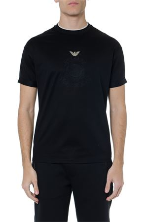 BLACK COTTON EMBROIDERY LOGO T-SHIRT SS19 EMPORIO ARMANI | 15 | 3G1TL91JTUZF065
