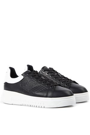 BLACK LEATHER SNEAKERS WITH EMBOSSED LOGO SS 2019 EMPORIO ARMANI | 55 | X4X180XL183A120