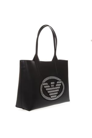 EMBELLISHED BLACK FAUX LEATHER SHOPPER BAG WITH ICONIC EAGLE LOGO SS 2019 EMPORIO ARMANI | 2 | Y3D081YGE1X82330
