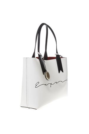 SHOPPER BAG IN WHITE FAUX LEATHER WITH CHARM LOGO SS 2019 EMPORIO ARMANI | 2 | Y3D081YGE5A88489