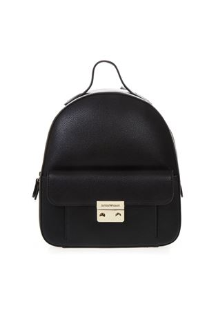 91c035682330 BLACK FAUX LEATHER BACKPACK SS 2019 EMPORIO ARMANI