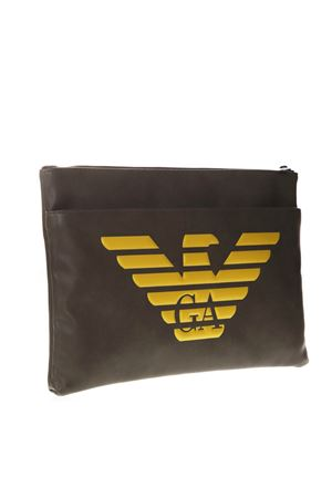 MILITARY GREEN FAUX LEATHER DOCUMENT HOLDER WITH LOGO SS 2019 EMPORIO ARMANI | 2 | Y4P094YG90J83196