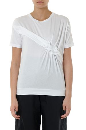 WHITE COTTON RUFFLED T-SHIRT SS19 FAY | 15 | NPWB2385970QQEB001