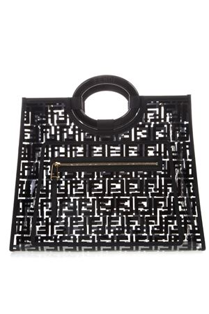 d952e468bd05 BLACK RUNAWAY SHOPPING BAG IN PU SS19 FENDI