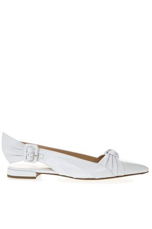 WHITE LEATHER KNOT BALLERINA SHOES SS19 FRANCESCO RUSSO | 150 | R1P511N212WHITE