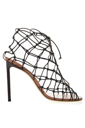 BLACK LEATHER FISHNET SANDALS SS19 FRANCESCO RUSSO | 87 | R1S525N200BLACK