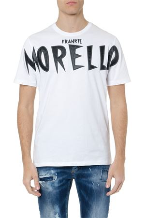 EUGENIO WHITE COTTON T-SHIRT WITH LOGO BRAND PATCH