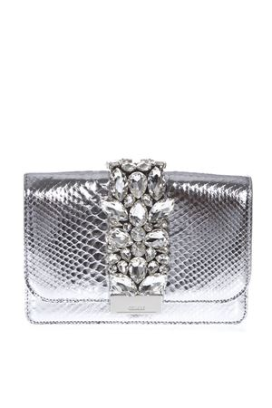 CLUTCH ARGENTO CLIKY IN PITONE PE 2019 GEDEBE | 2 | CLIKYPYTHONSILVER