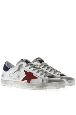 WHITE LEATHER SUPERSTAR SNEAKERS WITH FUCHSIA AND BLUE INSERTS SS19 GOLDEN GOOSE DELUXE BRAND | 55 | G345MS5901N13