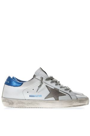 WHITE LEATHER SUPERSTAR SNEAKERS WITH BLUE AND GREY INSERTS SS19 GOLDEN GOOSE DELUXE BRAND | 55 | G34MS5901N22