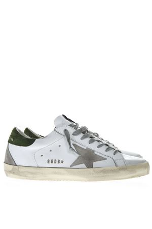 WHITE LEATHER SUPERSTAR SNEAKERS WITH GREY AND GREEN SUEDE INSERTS SS19 GOLDEN GOOSE DELUXE BRAND | 55 | G34MS5901N28