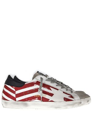 LEATHER SNEAKERS WITH CONTRASTING SIDE GGDB FLAG PRINT SS19 GOLDEN GOOSE DELUXE BRAND | 55 | G34MS5901N37