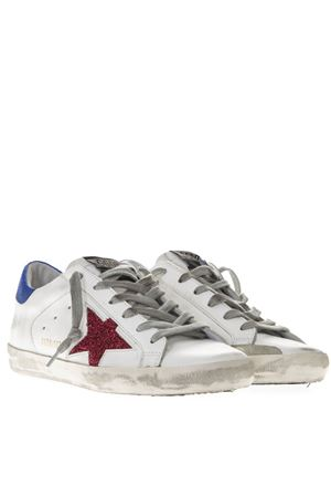 WHITE LEATHER SUPERSTAR SNEAKERS WITH FUCHSIA AND BLUE LUREX INSERTS SS19 GOLDEN GOOSE DELUXE BRAND | 55 | G34WS5901M32