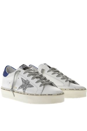 WHITE AND BLUE LEATHER SNEAKERS WITH GLITTER STAR SS19 GOLDEN GOOSE DELUXE BRAND | 55 | G34WS9451B3