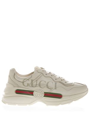 ccd4033a1 IVORY LEATHER RHYTON SNEAKERS WITH GUCCI LOGO SS 2019 GUCCI | 55 |  500877DRW009522 ...