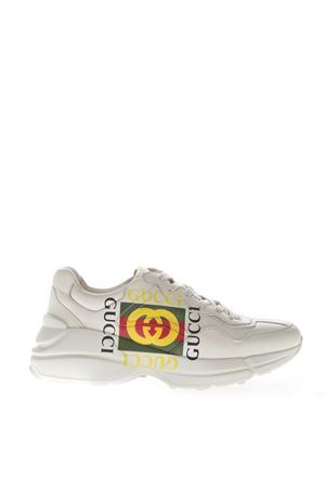 SNEAKERS RHYTON COLOR AVORIO IN PELLE CON LOGO PE 2019 GUCCI | 55 | 500878DRW009522