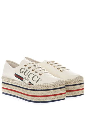 BEIGE AND MULTICOLORED ESPADRILLAS WITH PLATEAU AND LOGO SS 2019 GUCCI | 55 | 5257119SJ009063