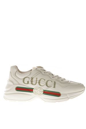 RYTHON IVORY LEATHER SNEAKERS WITH LOGO GUCCI SS 2019 GUCCI | 55 | 528892DRW009522