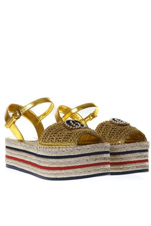 763d1ef99eea GOLD ESPADRILLES PLATFROM SANDALS SS 2019 - GUCCI - Boutique Galiano