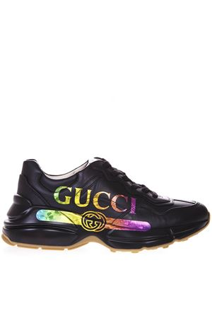 RYTHON BLACK LEATHER SNEAKERS WITH RAIMBOW LOGO GUCCI SS 2019 GUCCI | 55 | 553608DRW001000