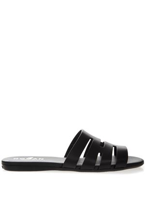 VALENCIA BLACK LEATHER SLIDER SS19 HOGAN | 55 | HXW1330BI90IWEB999