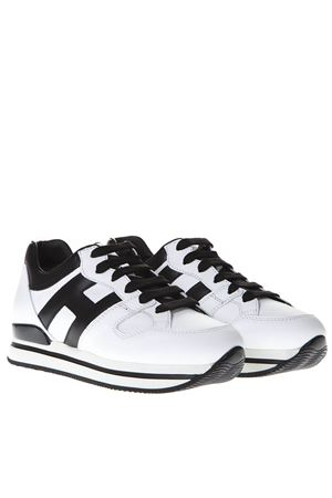 BLACK AND WHITE SNEAKERS H222 IN LEATHER SS 2019 HOGAN | 55 | HXW2220T548HQK0001