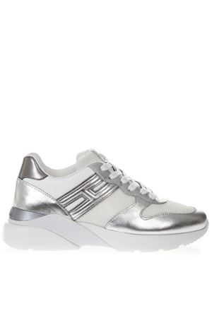 HOGAN ACTIVE ONE WHITE & SILVER LEATHER & NYLON SNEAKERS SS19 HOGAN | 55 | HXW3850BF50KX56954