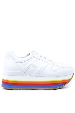 MAXI222 WHITE LEATHER SNEAKERS WITH MULTICOLOR  HEM SS 2019 HOGAN | 55 | HXW4210T548I6SB001