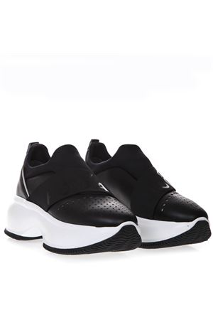 MAXI I ACTIVE BLACK LEATHER SLIP-ON SNEAKERS SS 2019 HOGAN | 55 | HXW4350BQ40KUP0353