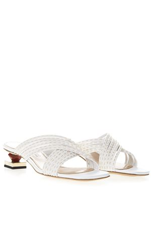 CASTANA WHITE LEATHER ORNAMENTAL HEELS SANDALS SS19 JACQUEMUS | 110000060 | 191FO02-19157100WHITE
