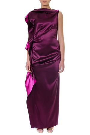 LONG CUT FUXIA SILK ROUCHES DRESS SS19 LANVIN | 32 | RW-DR397U4130371
