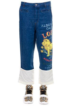 BLUE CROPPED COTTON LEON PRINT JEANS SS19 LOEWE   4   H2192280IB15820