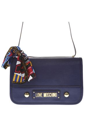 BLUE SHOULDER BAG IN FAUX LEATHER WITH MULTICOLOR FOULARD SS 2019 LOVE MOSCHINO | 2 | JC4035PP17LD10750