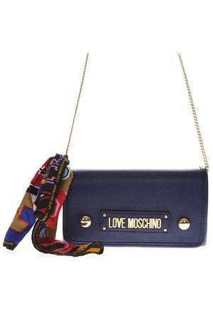 BLUE SHOULDER BAG IN FAUX LEATHER WITH FOULARD DETAIL SS 2019 LOVE MOSCHINO | 2 | JC4045PP17LD10750