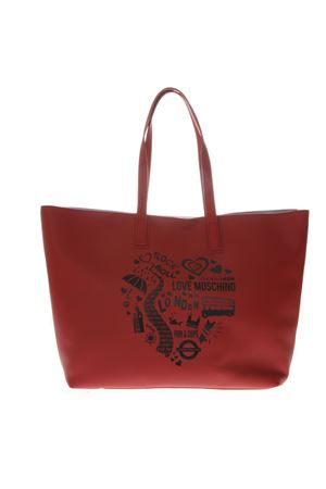 SHOPPER BAG IN ECOPELLE ROSSA CON STAMPA PE 2019 LOVE MOSCHINO | 2 | JC4088PP17LK10500