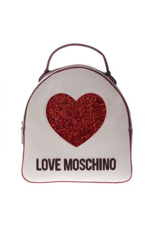 BLACK & WHITE FAUX LEATHER LOGO BACKPACK SS19 LOVE MOSCHINO | 2 | JC4116PP17L3UNI100A