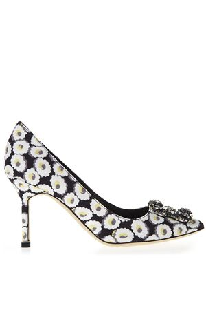 BLACK PUMPS WITH FLORAL PRINT SS 2019- MANOLO BLAHNIK | 68 | HANGISIALM2LANZA CLAVA090