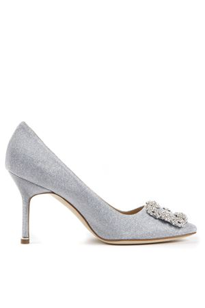 DÉCOLLETÉ HANGISI GLITTER IN TESSUTO ARGENTO PE19 MANOLO BLAHNIK | 68 | HANGISICLCLANZA CLAVA 0900007