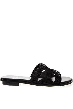 BLACK ANNALEE SUEDE SANDAL WITH CRYSTALS INSERTS SS19 MICHAEL MICHAEL KORS | 87 | 40S9ANFP1SUNI001