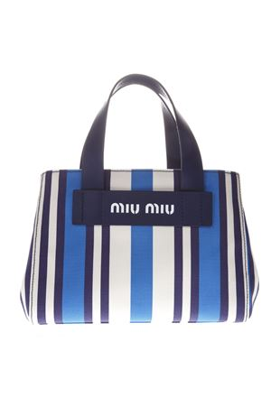 Spring Summer 2019. BAG IN CANVAS WITH STRIPED PATTERN BLUE AND WHITE SS 2019  MIU MIU  d52fe0a418c49