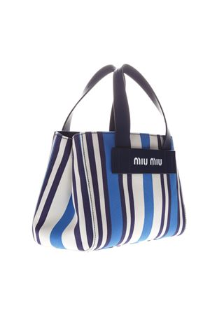 BAG IN CANVAS WITH STRIPED PATTERN BLUE AND WHITE SS 2019 MIU MIU | 2 | 5BA0852B7CF0136