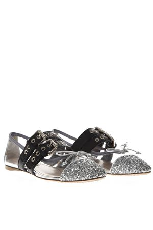 BLACK & SILVER PVC & LEATHER POINTY BUCKLED SLIPPERS SS19 MIU MIU | 150 | 5F366C3K6ZF0Q07