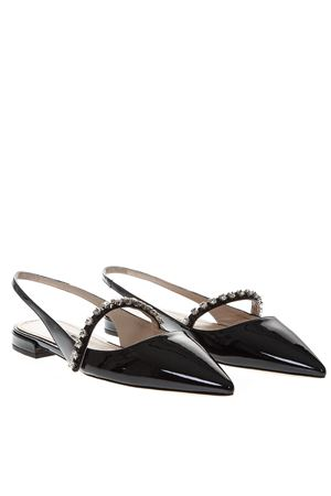 BLACK PATENT LEATHER OPEN TOE POINTY SLIPPERS SS19 MIU MIU  039f2e68505c5