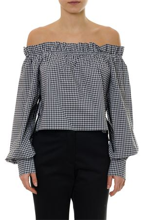 BLACK COTTON SQUARED UNCOVERED SHOULDERS TOP SS19 MIU MIU | 13 | MT141757KF0002