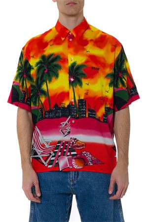 CAMICIA MULTICOLORE IN VISCOSA CON STAMPA CALIFORNIA BEACH PE19 MSGM | 9 | 2640ME11B19505810